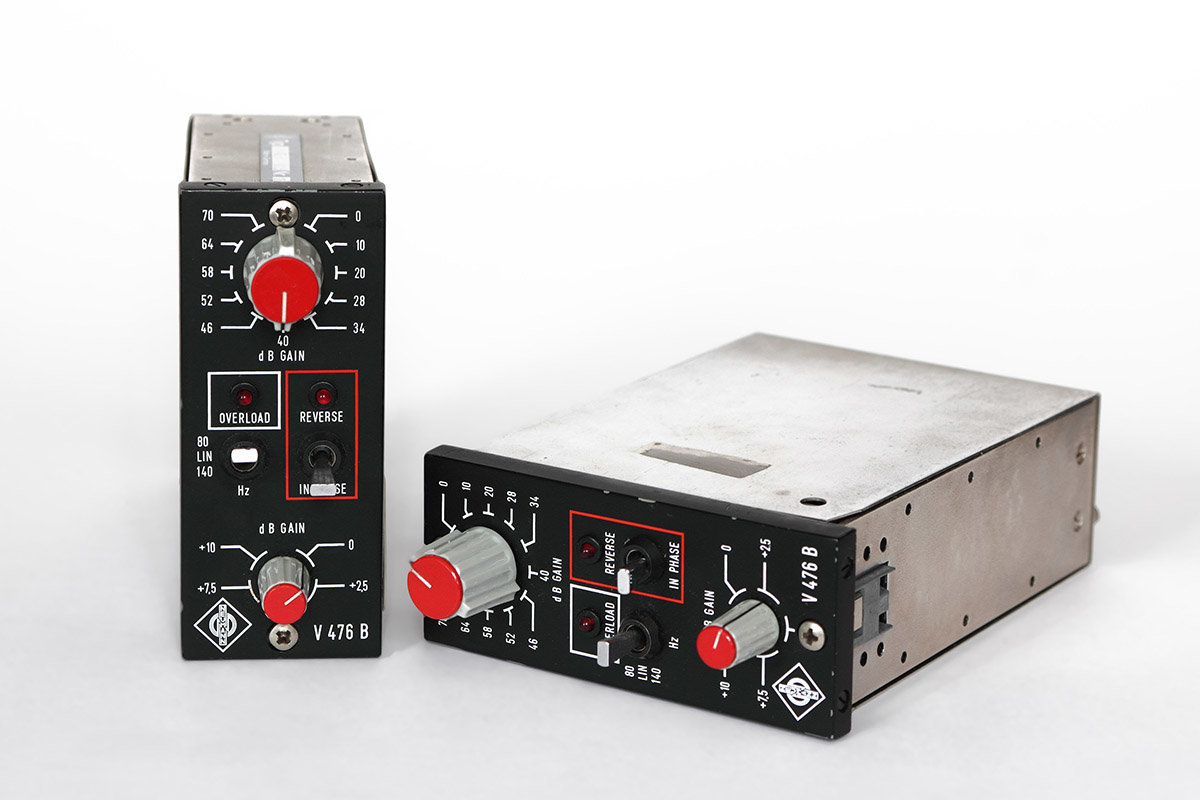 Two sought-after Neumann V476b preamp modules from the early 1980s.