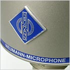 Neumann logo on the D-01 digital studio microphone